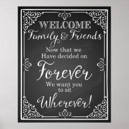 Alternative wedding seating plan sign Chalkboard