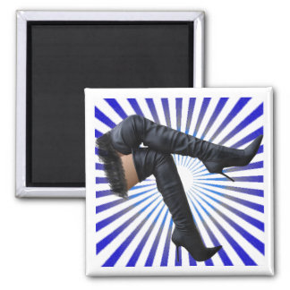 Alto arte de la bota del muslo (estrella azul esta imán de frigorifico