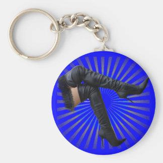 Alto arte de la bota del muslo (estrella azul esta llavero