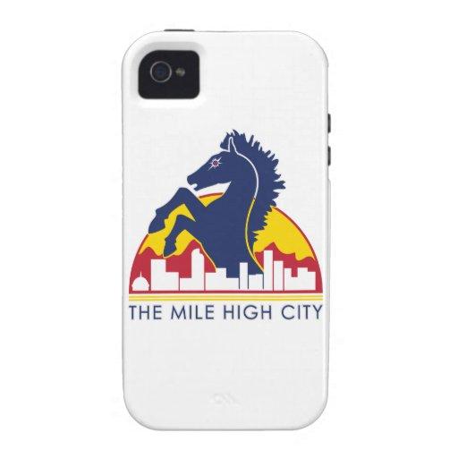 Alto caballo del azul de la ciudad de la milla iPhone 4 fundas
