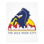 Alto caballo del azul de la ciudad de la milla membrete personalizado