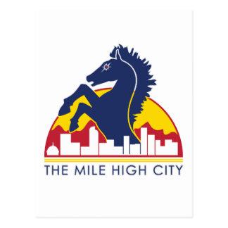 Alto caballo del azul de la ciudad de la milla postales