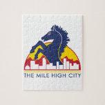 Alto caballo del azul de la ciudad de la milla rompecabeza con fotos