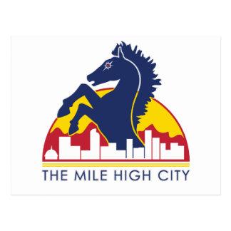 Alto caballo del azul de la ciudad de la milla tarjetas postales
