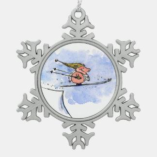 Alto cerdo del salto de esquí del vuelo adorno