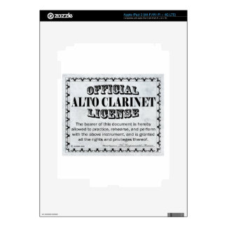 Alto Clarinet License Decal For iPad 3
