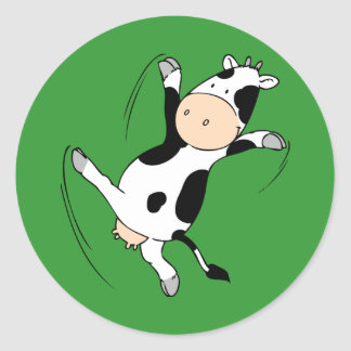 Alto Cow.png de retroceso con el pie Pegatina Redonda