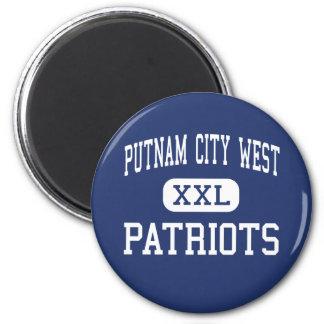 Alto del oeste de la ciudad de Putnam - patriotas  Imán Redondo 5 Cm