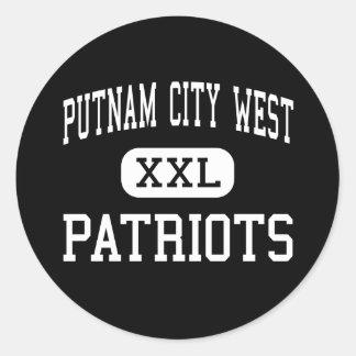 alto del oeste de la ciudad del putnam - patriotas pegatina redonda