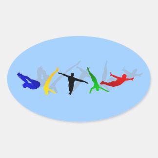 Alto deporte de la plataforma del trampolín del pegatina de oval personalizadas