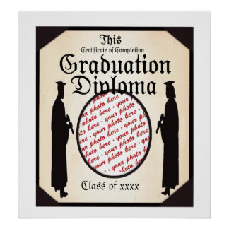 Alto derecho - marco de la foto del diploma de la póster