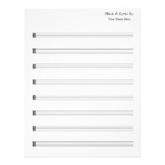 Alto en blanco del bastón de la partitura 8 plantilla de membrete