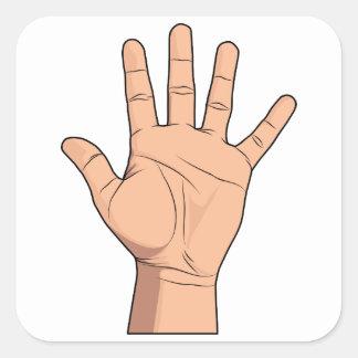 Alto gesto abierto de cinco de la mano dedos de la pegatina cuadrada