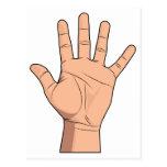 Alto gesto abierto de cinco de la mano dedos de la postal