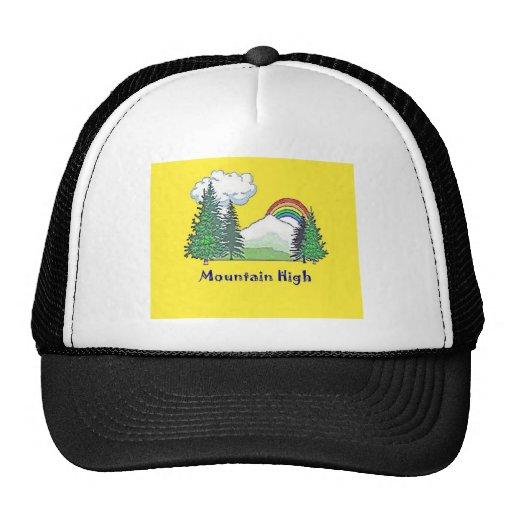 Alto logotipo del campo de la montaña gorros