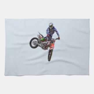 Alto motocrós del vuelo toallas de cocina