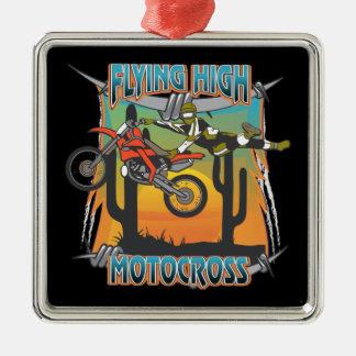 Alto motocrós que vuela adorno cuadrado plateado