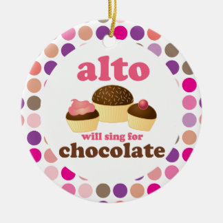 Alto Music Choir Singer Funny Chocolate Ceramic Ornament