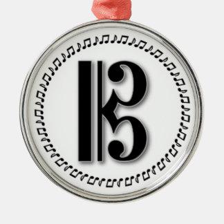 Alto o Clef de C del diseño de la nota de la Adorno Navideño Redondo De Metal