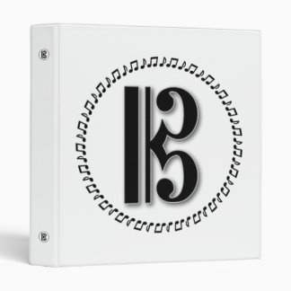 Alto or Tenor Clef Music Note Design C Clef 3 Ring Binders