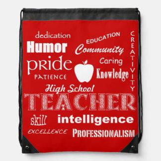 Alto orgullo del profesor de escuela+Apple-Rojo Mochila