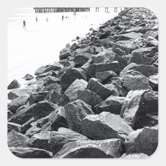 Alto paisaje dominante de la pared de mar de pegatina cuadrada