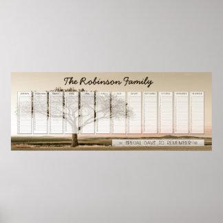 Alto personalizado del calendario perpetuo de la f póster