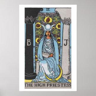 Alto poster de la carta de tarot de la sacerdotisa