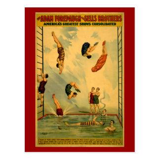 Alto poster del circo de la zambullida/del salto postales