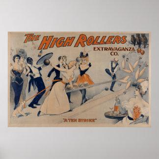 Alto poster del teatro del fiesta de RollersBowlin