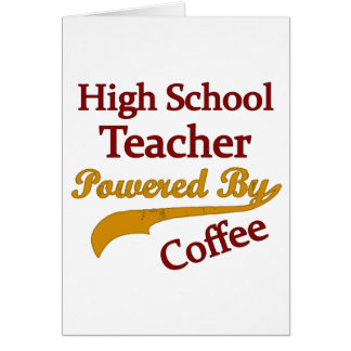 Alto profesor de escuela accionado por el café tarjeta de felicitación