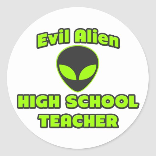Alto profesor de escuela extranjero malvado etiquetas redondas