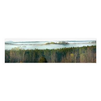 Alto puente con niebla de la primavera fotografía