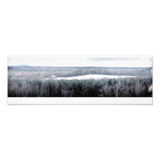 Alto puente con nieve arte fotografico