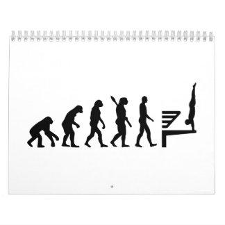Alto salto de la evolución calendario de pared