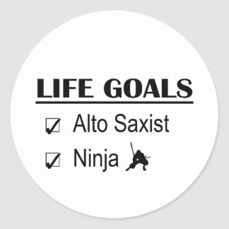 Alto Sax Ninja Life Goals Classic Round Sticker