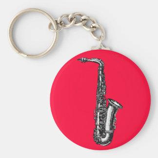 Alto Saxophone Basic Round Button Keychain