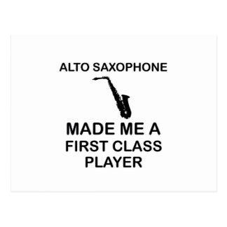 Alto saxophone design postcard