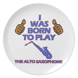 alto saxophone Musical designs Dinner Plates