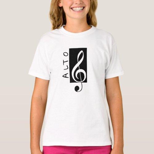 Alto Singer Treble Clef Black and White T_Shirt
