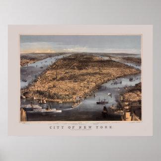Alto sobre New York City en 1856 Póster
