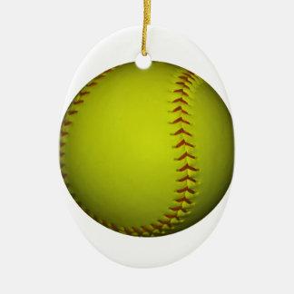 Alto softball del amarillo de la visibilidad adorno navideño ovalado de cerámica