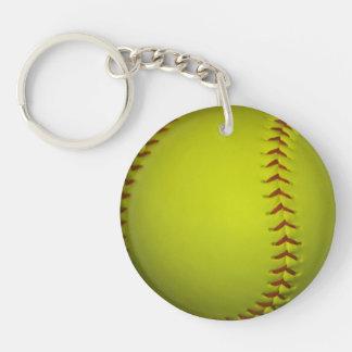 Alto softball del amarillo de la visibilidad llavero redondo acrílico a una cara