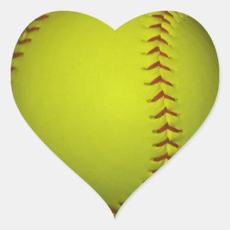 Alto softball del amarillo de la visibilidad pegatina en forma de corazón