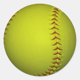 Alto softball del amarillo de la visibilidad pegatina redonda