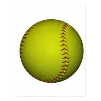Alto softball del amarillo de la visibilidad tarjetas postales