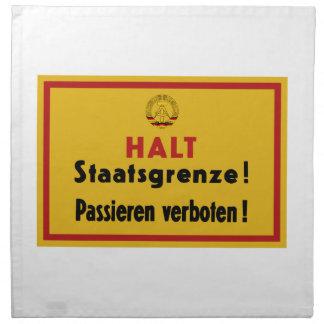 ¡Alto Staatsgrenze! Muro de Berlín, muestra de Servilletas Imprimidas