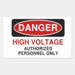 Alto voltaje del peligro pegatina rectangular