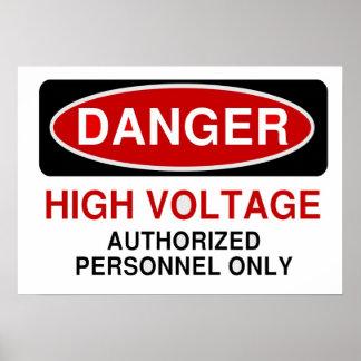 Alto voltaje del peligro póster
