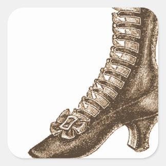 Alto zapato rematado del Victorian Pegatina Cuadrada